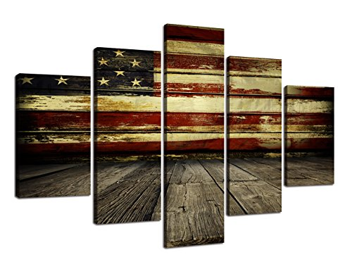 (Wooden American Flag Wall Pictures for Living Room USA Canvas Painting Retro US Flag Rustic Wall Decor Modern Artwork 5 Panel Framed Posters Bedroom Giclee Print Gallery Wrap Stretched(60''W x 40''H))