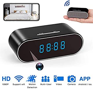 BKING-BOX Spy Camera, Hidden Camera Clock,HD 1080P WiFi Nanny Cam,140°Angle Wireless IP Surveillance Camera with Night Vision/Motion Detection/Loop Recording for Indoor Home Security Monitoring