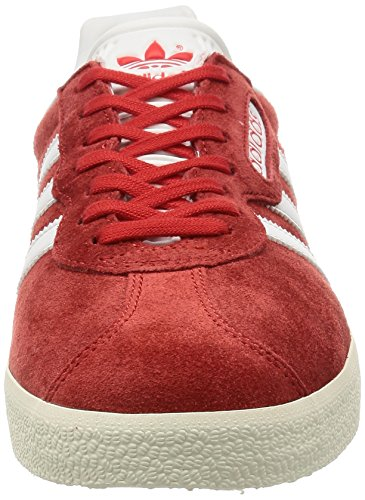 adidas Herren Gazelle Super Laufschuhe Rot (Red/Vintage White/Gold Metallic)