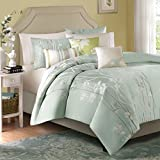Madison Park Athena Duvet Cover King Size - Seafoam Green, Floral Jacquard Duvet Cover Set - 6 Piece - Ultra Soft Microfiber Light Weight Bed Comforter Covers