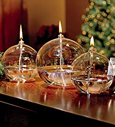 Refillable Iridescent Ball Glass Oil Lamp Candles Set of 3
