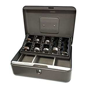 Burg Wachter CB02GBBK 10″ Cash Box with GBP Coin Tray, Black