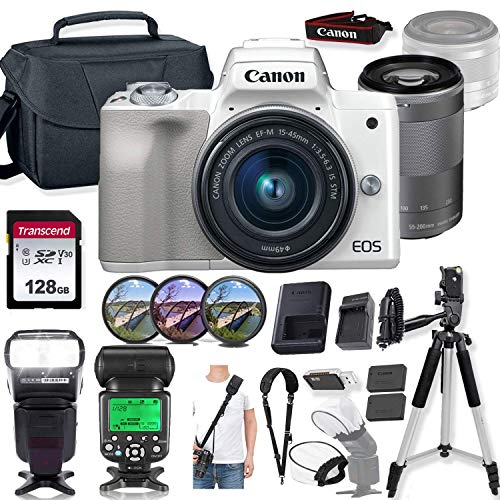 Canon EOS M50 Mirrorless Digital Camera (White) and 15-45mm & 55-200mm Lens w/High Speed Flashlight + Prime Accessory Bundle