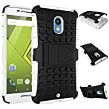 MOONCASE Moto X Play Case Detachable 2 in 1 Hybrid Armor Design Shockproof Tough Rugged Dual-Layer Case Cover with Built-in Kickstand for Motorola Moto X Play White