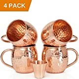 Set of 4 Moscow Mule Copper Mugs with Copper Shot Glass - Four 16 Oz Copper Moscow Mule Mugs - Solid Copper Hammered Mug - Copper Cups for Moscow Mules