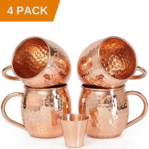4 Tumbler 16 Oz Mugs - Set of 4 Moscow Mule Copper Mugs with Copper Shot Glass - Four 16 Oz Copper Moscow Mule Mugs - Solid Copper Hammered Mug - Copper Cups for Moscow Mules