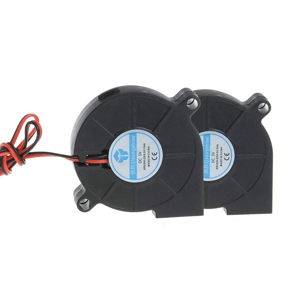 Anmbest 2PCS 5015 DC 5V Silent Brushless Blower Radial Cooling Fan 2 pin Brushless 5CM Fans 50mm X 50mm X 15mm for RepRap 3D Printers Parts
