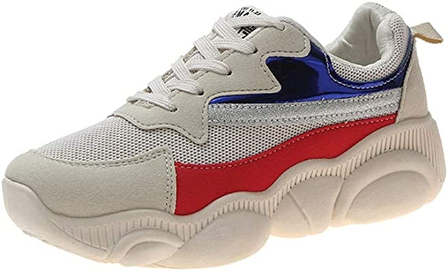Zapatillas de Mujer con cordón, Ligeras, Color Blanco, Estilo Deportivo, para Exterior, Color Neutro, Color Beige, Talla 40 EU: Amazon.es: Zapatos y complementos