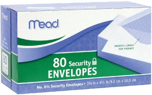 Sobres de seguridad Mead # 6 3/4, 80 cuentas (75212)