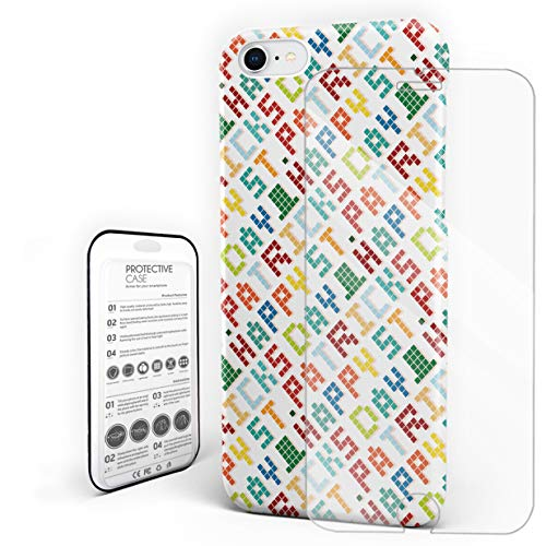 (Protective Phone Case for iPhone 7/8 Case Cover, Colorful Pixel Words Geometric Happy St. Patrick's Day Irish Arrangement, Shockproof Anti-Scratch Hard Back Case with Tempered Glass Screen)