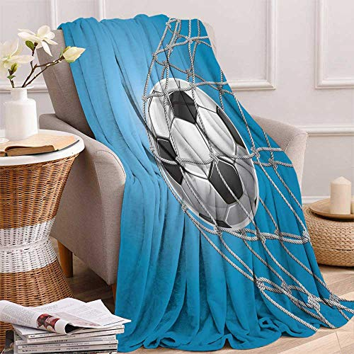 (maisi Soccer Lightweight Blanket Goal Football in Net Entertainment Playing for Winning Active Lifestyle Digital Printing Blanket 50