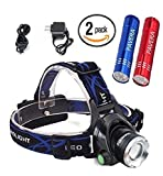 Headlamp, Zoomable 3 Modes Super Bright Waterproof LED Headlamp Rechargeable with 2 FREE Bright LED Mini Aluminum Flashlight Bundle. Perfect for hiking, fishing, BBQ, hunting, and backpacking