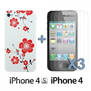 LJF phone case OnlineBestDigital - Carving Pattern Hard Back Case for Apple iPhone 4S / Apple iPhone 4 - Style D with 3 Screen Protectors
