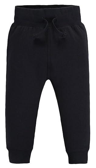 Mrignt Children's Winter Cotton Loose Elastic Pants(Black,7 Years)