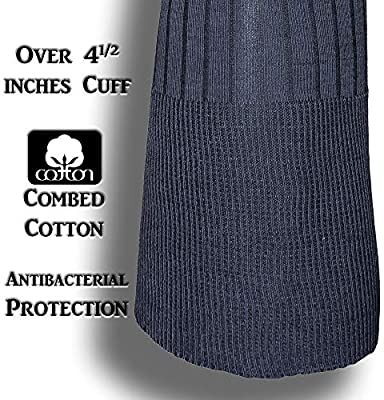 Over the Calf Mens Dress Socks 6 Pack 216 Thread Count Premium Turkish Cotton Black and Grey