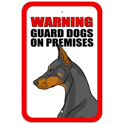 Plastic Sign Warning Guard Dogs on Premises Doberman Pinscher - 8