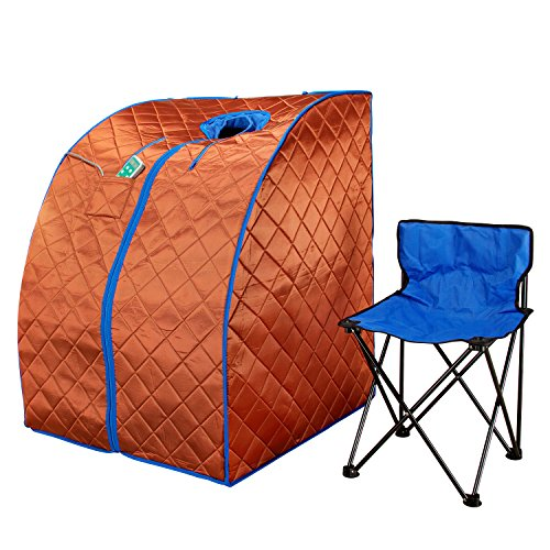 Durherm Infrared Sauna, Low EMF Negative Ion Portable Indoor Sauna with Chair and Heated Footpad, Copper, Large (Emf Free Infrared Sauna)