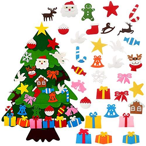 GoosWexmzl 3.2ft DIY Felt Christmas Tree - DIY Wall Christmas Tree with 32 Pcs Detachable Ornaments Kids Felt Craft Kits for Christmas, New Year, Various Festivals