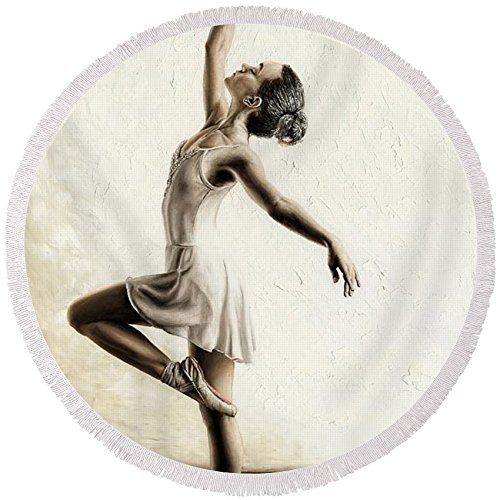 Pixels Round Beach Towel With Tassels featuring ''Genteel Dancer'' by Richard Young by Pixels