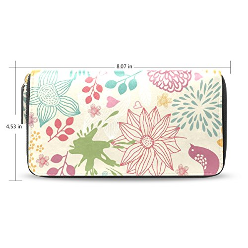 LEEZONE Micro Fiber Leather Wallet DIY with Hand-Painted Flowers Printing Purse