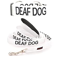 """""""DEAF DOG"""" White Color Coded Nylon Dog Collar & Padded Leash Set (NO/LIMITED HEARING) PREVENTS Dog Accidents By Warning Others Of Your Dog In Advance! Strong As Leather & Chain by Dexil"""