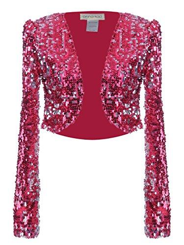 Kim Champagne Costume - Anna - Kaci Womens Glitter Sequins Shiny Long Sleeve Cropped Bolero Blazers Shrugs, Rose Red, Large