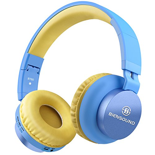 Bluetooth Headphones, Biensound BT60 Lightweight Foldable Headphones Wireless Bluetooth Headset with Microphone and Volume Control for iPad iPhone TV Laptop Computer Headphones (Blue&Yellow)
