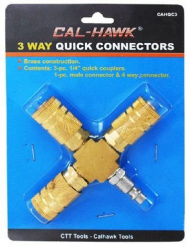 3 Way Air Hose Quick Connector Manifold Brass 1 4 Coupler Compressor Fitting by Cal-Hawk