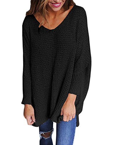 StyleDome Women's Long Sleeve Shirt Blouse V-Neck Pullover Oversized Baggy Crochet Knitted Jumper Black - Top Oversized Black