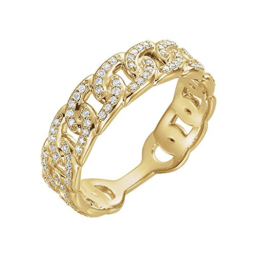 14k Yellow Gold Polished 0.25 Dwt Diamond Link Ring - Size 6.5 ()