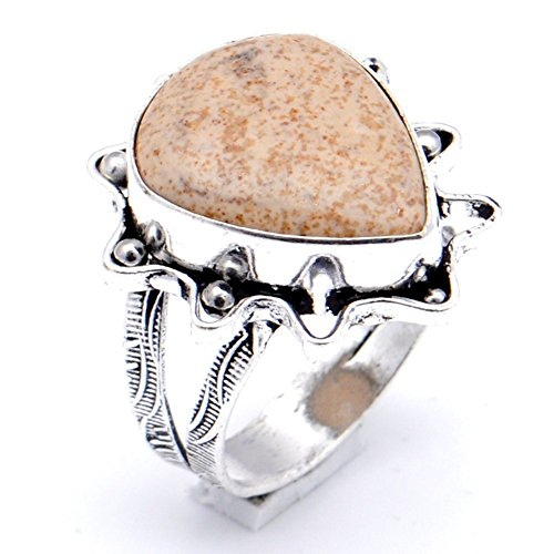 (Ancient! Handmade Jewelry! Brown Picture Jasper Sterling Silver Overlay Ring Size 8.5 US )