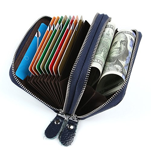 Blue 9 2 Leather Blue Wallets Credit Sapphire Colors 2 Credit Pocket for Holder Men Card Card Women with Coin Genuine Sapphire rqarPR