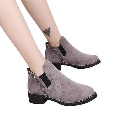 Stiefel Damen Boots Wildleder Stiefeletten Mode Frauen Nieten Flache Schuhe  Martain Stiefel Runde Kappe Schuhe Freizeitschuhe 3650f80962