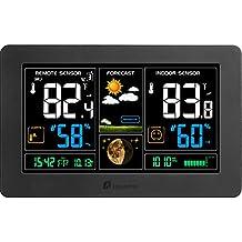 Indoor Outdoor Weather Station, Houzetek Digital Color Forecast Station with Sensor, Home Alarm Clock with Temperature Alerts, Charging USB Port, Moon Phase