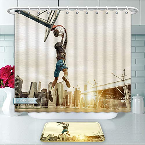 Unique Shower Curtains and Bath Rugs Set Basketball Street Player Making A Rear Slam Dunk New York and Manhattan Buildings in The Backgr Bath Curtains and Doormats Suit for Bathroom 60