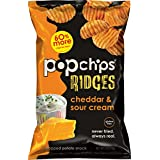 Popchips Ridged Potato Chips, Cheddar & Sour Cream Potato Chips, 12 Count (5 oz Bags), Gluten Free, Low Fat, No Artificial Flavoring, Kosher