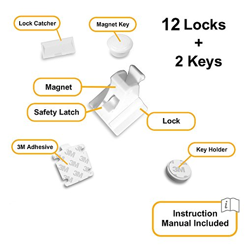Skyla Homes - Magnetic Baby Locks   No Tools Needed - 3M Adhesive   Amazing for Baby Proofing Kitchen & Child Locks   Quality Design   Child Safety   Cabinet Locks   White (12-Pack) by Skyla Homes (Image #3)