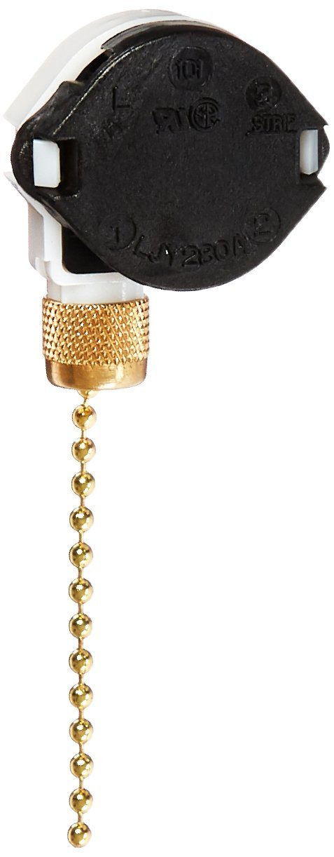 Morris 70040 SPTT Brass Pull Chain, 3 Speed, Off-On(A)-On(B)-On(A and B) Push In