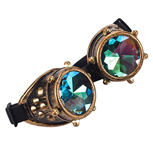 Kaleidoscope Rave Goggles Steampunk Glasses with Rainbow Crystal Glass Lens (One Size-Adjustable head band, Brass-New Style) by DODOING