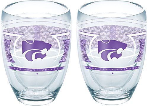 Tervis 1230386 Kansas State Wildcats Reserve Insulated Tumbler with Wrap 2 Pack - Boxed 9oz Stemless Wine Glass Clear