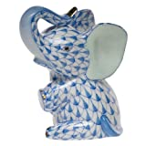 Herend Baby Elephant Sitting Blue Fishnet