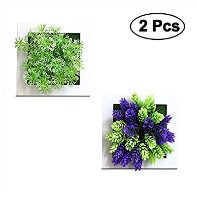 "NEILDEN Artificial Plants Potted Greenery Bonsai Purple Plants 3D Creative Plants Wall Hanging for Home Wall Decor 5.9""x5.9"" (Set of 2) -  - living-room-decor, living-room, home-decor - 51DcX vZb0L. SS400  -"