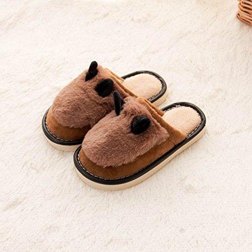 LaxBa Mesdames Accueil Marbre Chaussons Chaussures Semelle intérieure charmante enfant Cotton-Padded,brun Modèles Enfant 18 cm 15.5s'adapte