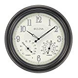 "Bulova Corp Weather Master Wall Clock, 18"", Black"
