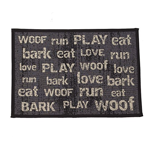 PetRageous Vintage Tapestry Mat Feeder, 13 x 19/Small, Dark Gray