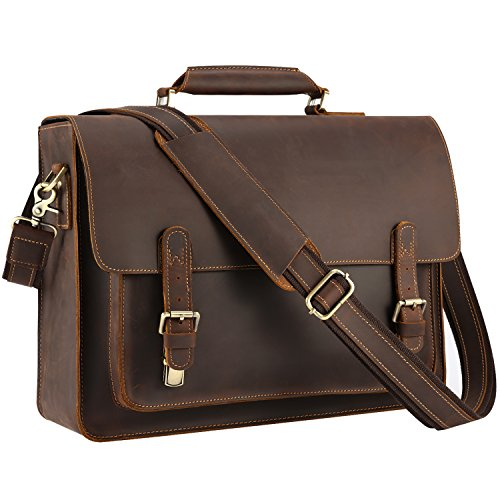 Kattee Real Leather Shoulder Briefcase, 16'' Laptop Tote Bag Coffee by Kattee