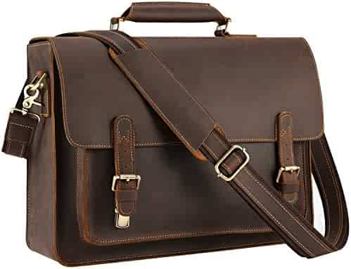 Kattee Real Leather Shoulder Briefcase, 16