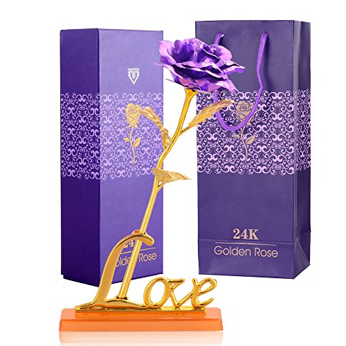 24K Artificial Flower Roses for Her Birthday Gifts for Anniversary Gifts for Mother's Day Gifts and All Women Gifts Idea(Purple blue red gold) (Purple)