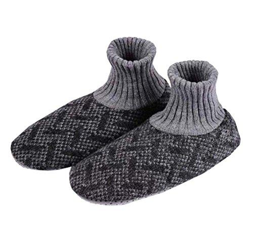 (Men Winter Non-Skid Knit Slipper Socks Indoor Floor Stocking Shoes Home Socks,G)
