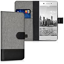 kwmobile Wallet case canvas cover for Sony Xperia XA1 - Flip case with card slot and stand in grey black